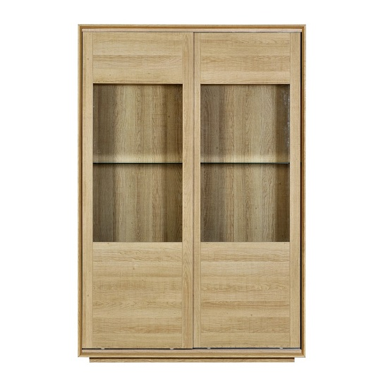 Peora Glass Display Cabinet In Oak With 2 Sliding Doors_3