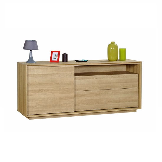 Peora Wooden Sideboard In Oak With 2 Drawers And Sliding Door