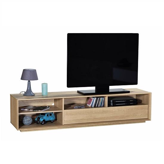 Peora Wooden TV Cabinet In Oak With 1 Flap Door