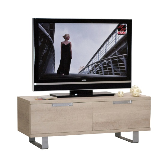 Sonora tv cabinet in oak with metal legs and 2 drawers for Meuble tv alu brosse