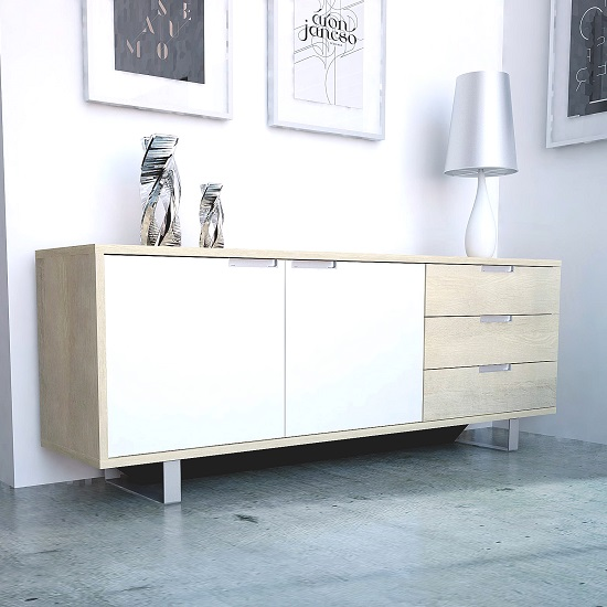 Sonora Sideboard In Oak With 3 Drawer And 2 Doors in White Front