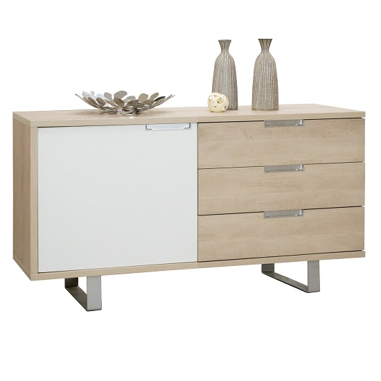 Sonora Sideboard In Oak With 3 Drawers And 1 Door in White Front