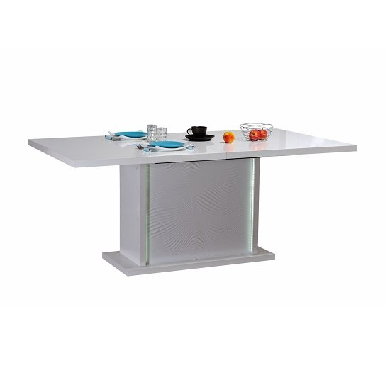 Carmen Extendable Dining Table In White Gloss With LED Lighting_1