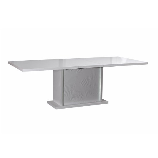 Carmen Extendable Dining Table In White Gloss With LED Lighting_2