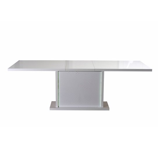 Carmen Extendable Dining Table In White Gloss With LED Lighting_3
