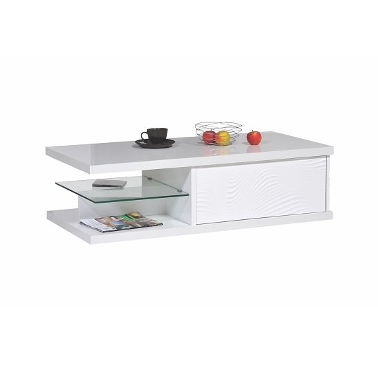 Carmen Coffee Table In White Gloss With 1 Drawer And Glass Shelf