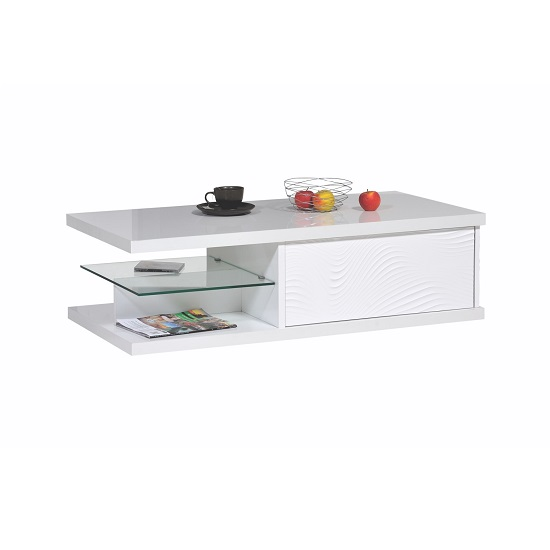 Carmen Coffee Table In White Gloss With 1 Drawer And Glass Shelf_1