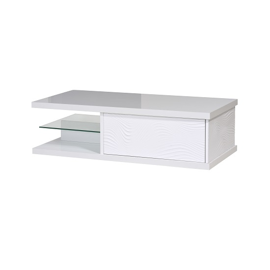 Carmen Coffee Table In White Gloss With 1 Drawer And Glass Shelf_3