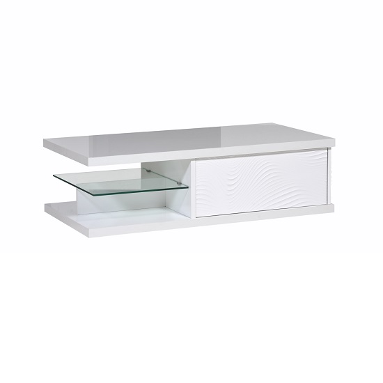 Carmen Coffee Table In White Gloss With 1 Drawer And Glass Shelf_4