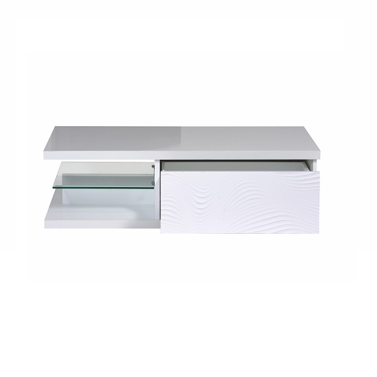 Carmen Coffee Table In White Gloss With 1 Drawer And Glass Shelf_2