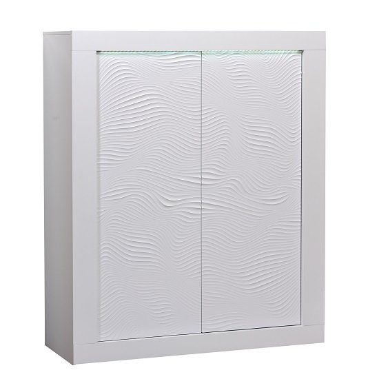 Carmen Highboard In White Gloss With 4 Doors And LED Lighting