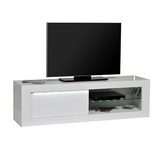 carmen tv cabinet in white gloss with sliding door and led. Black Bedroom Furniture Sets. Home Design Ideas