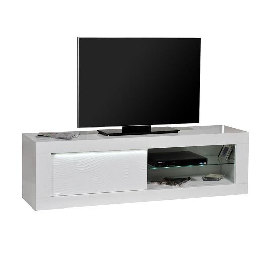 Carmen TV Cabinet In White Gloss With Sliding Door And LED Light