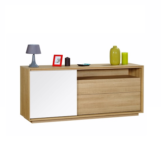 Peora Wooden Sideboard In Oak With Sliding Door In White Front