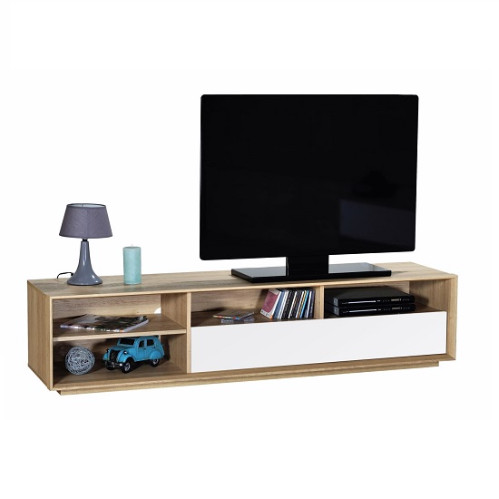 Peora Wooden TV Cabinet In Oak With 1 Flap Door In White Front