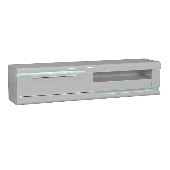 Merida TV Cabinet In White High Gloss With 2 Drawers And LED