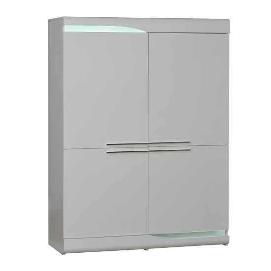 Merida Storage Cabinet In White High Gloss With 4 Doors And LED