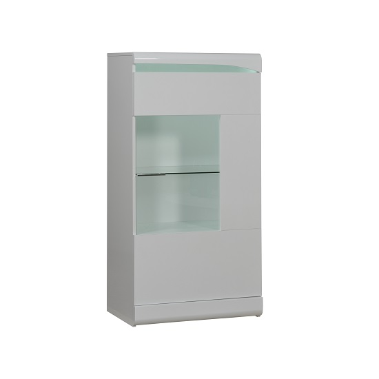 Merida Display Cabinet In White Gloss With 1 Door And LED_1