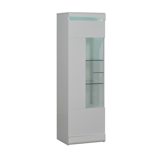 Merida Display Cabinet Tall In White Lacquer With 1 Door And LED