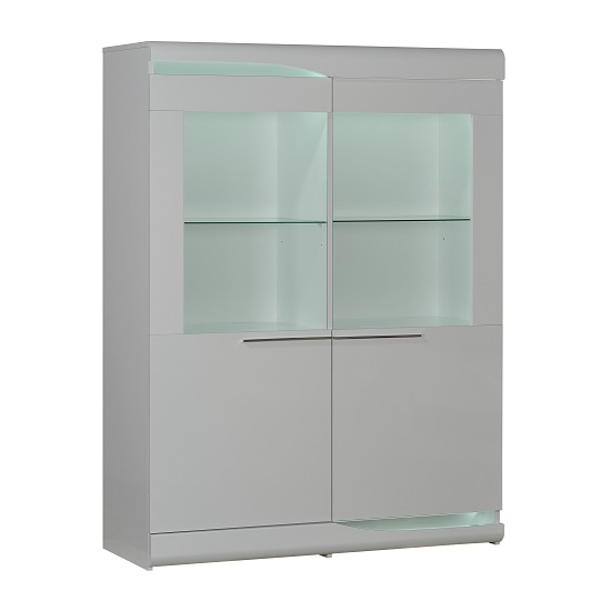 Merida Display Cabinet Wide In White Lacquer With 2 Door And LED