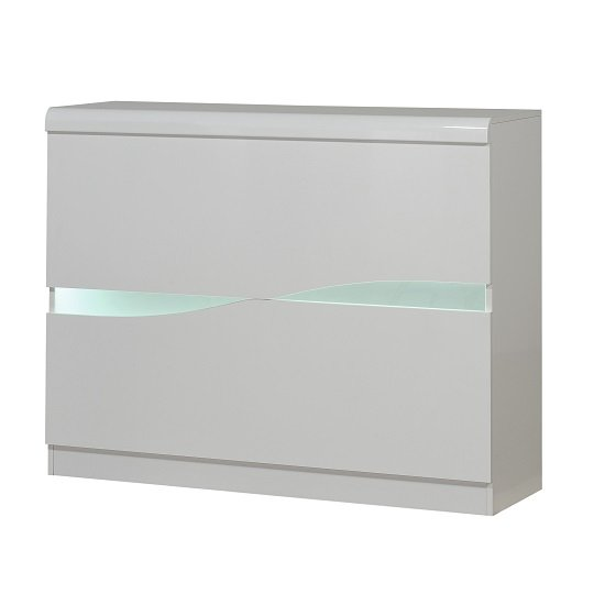 Merida Bar Unit In White High Gloss With LED Lighting