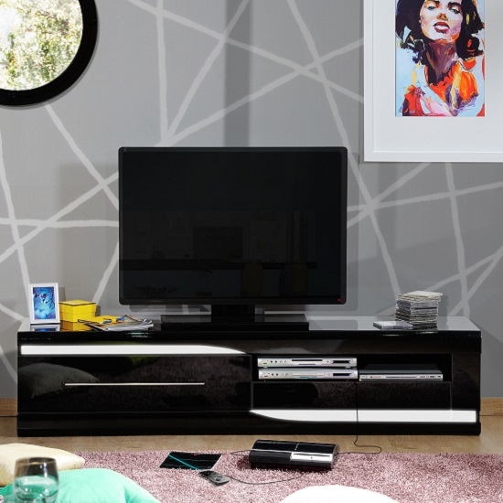 Merida TV Cabinet In Black High Gloss With 2 Drawers And LED