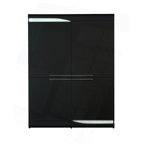 Merida Storage Cabinet In Black High Gloss With 4 Doors And LED