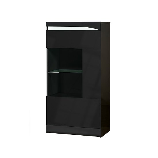 Merida Display Cabinet In Black Gloss With 1 Door And LED