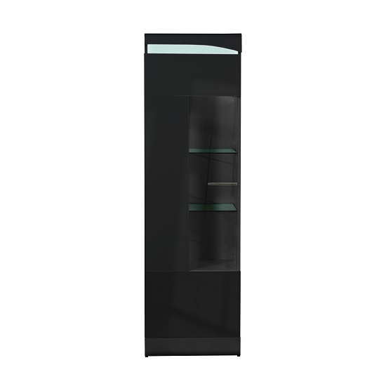 Merida Display Cabinet Tall In Black Gloss With 1 Door And LED_1