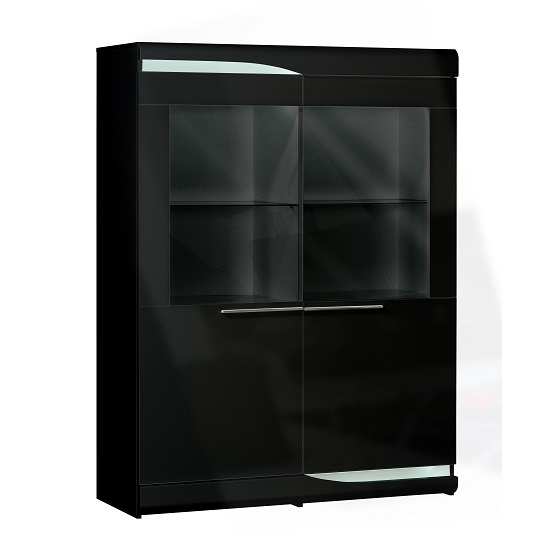 Merida Display Cabinet Wide In Black Gloss With 2 Door And LED