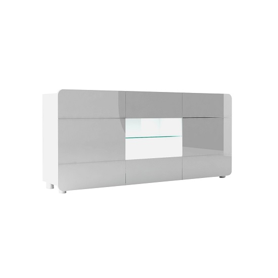Estonia Sideboard Wide In Lacquered White With 3 Doors And LED