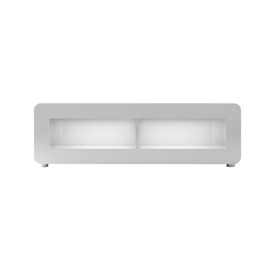 Estonia LCD TV Stand In Lacquered White With Storage