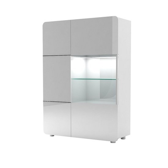 Estonia Display Cabinet In High Gloss White With 2 Doors And LED