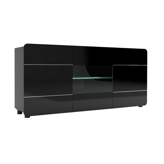 Estonia Sideboard In Lacquered Black With 3 Doors And LED Lights
