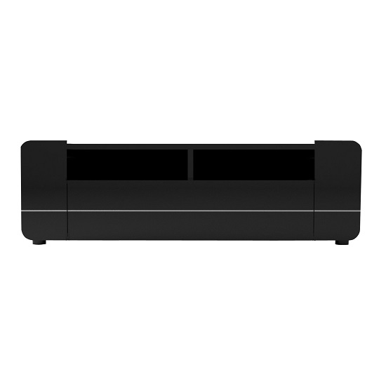 Estonia TV Cabinet In Lacquered Black With 2 Doors And Drawer