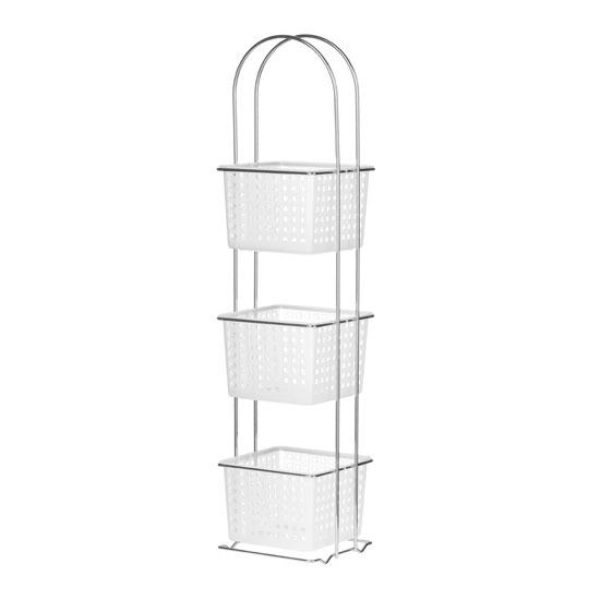 3 Tier Storage White Plastic Basket Chrome Frame