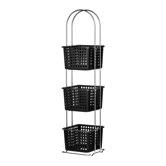 3 Tier Storage Black Plastic Basket Chrome Frame