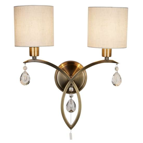 Alberto Two Light Wall Bracket In Antique Brass With Linen Shade_1