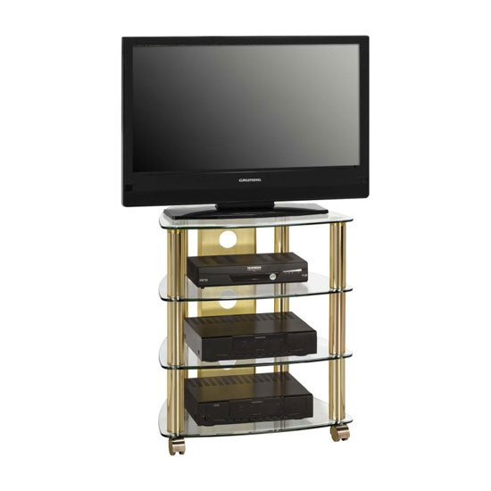 prague lcd tv stand in clear glass top with brass metal. Black Bedroom Furniture Sets. Home Design Ideas