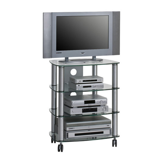Ida Coffee Tables High Gloss White With Grey Pull Out: Oregon LCD TV Stand In Clear Glass And Brush Aluminium Frame