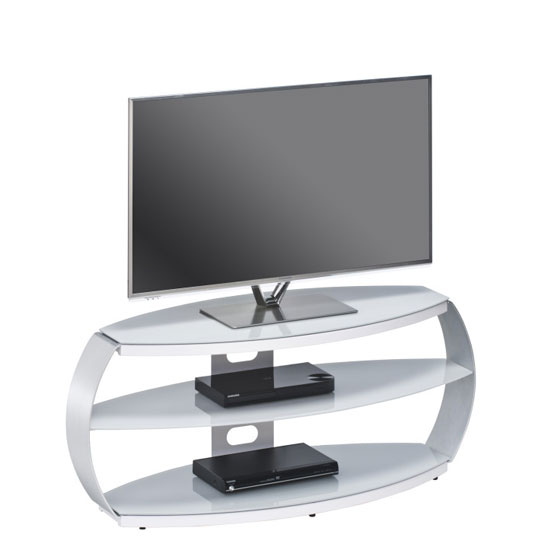 Jesper LCD TV Stand In Platinum Grey Glass With Aluminium Frame