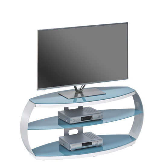 Jesper LCD TV Stand In Atlantic Blue Glass With Aluminium Frame