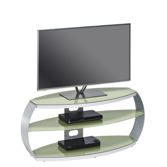 Jesper LCD TV Stand In Pastel Green Glass With Aluminium Frame