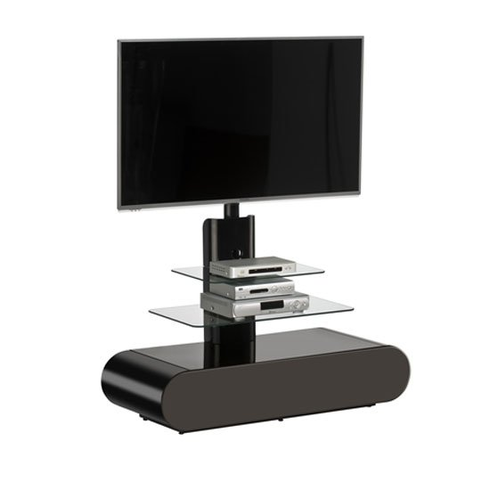 Genoa LCD TV Stand In Black High Gloss With Clear Glass Shelves