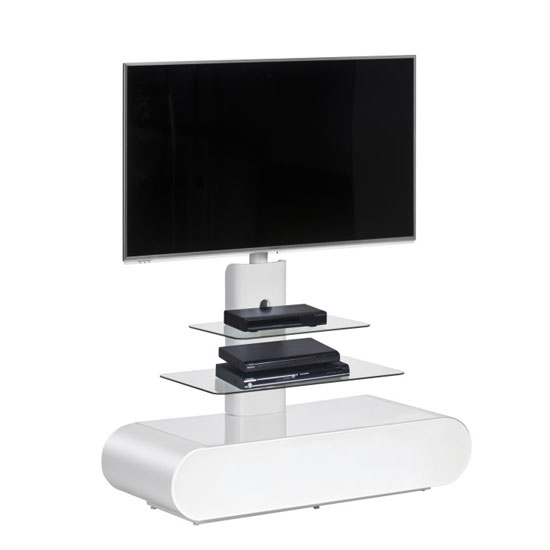Genoa LCD TV Stand In White High Gloss With Clear Glass Shelves