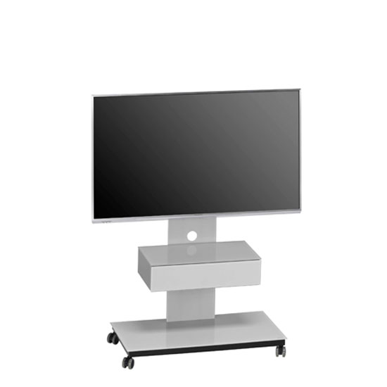 Sonax LCD TV Stand In Platinum Grey Glass With Black Frame