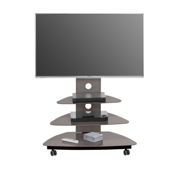 Taylor LCD TV Stand In Lava Glass With Black Metal Frame