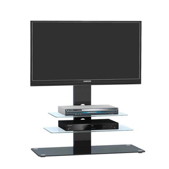 Kelbourne LCD TV Stand In Black Glass With Black Metal And LED