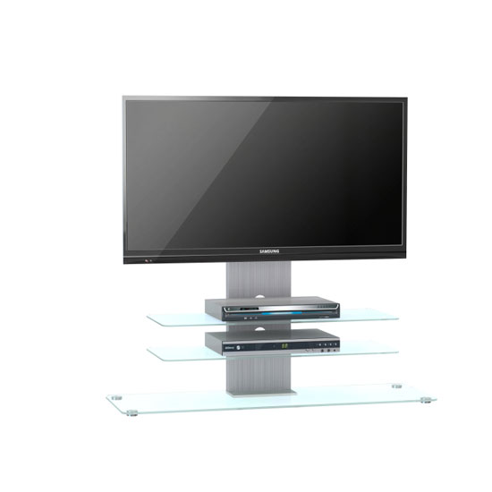 Tribeca LCD TV Stand In Clear Glass With Aluminium Frame And LED