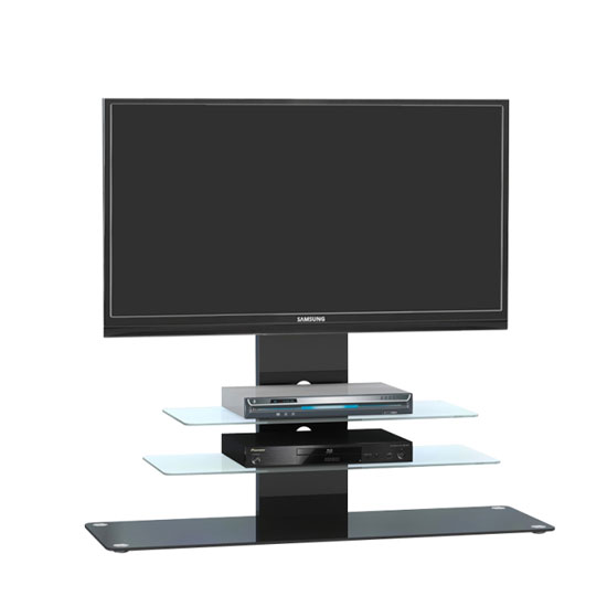 Tribeca LCD TV Stand In Black Glass With Black Metal And LED
